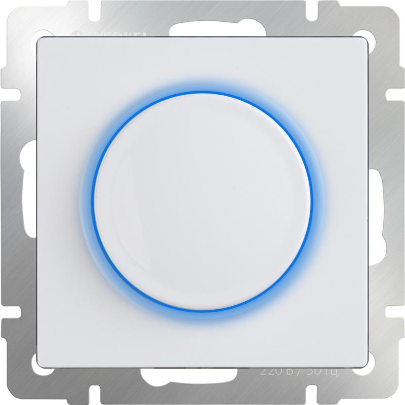 Диммер Werkel с подсветкой (белый) WL01-DM600-LED, белый led мини диммер радио 72 144w 3 кнопки 12v 24v