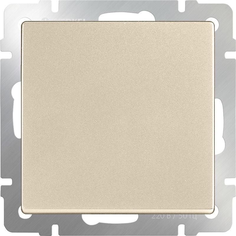 Выключатель Werkel одноклавишный проходной (шампань) WL11-SW-1G-2W, золотой