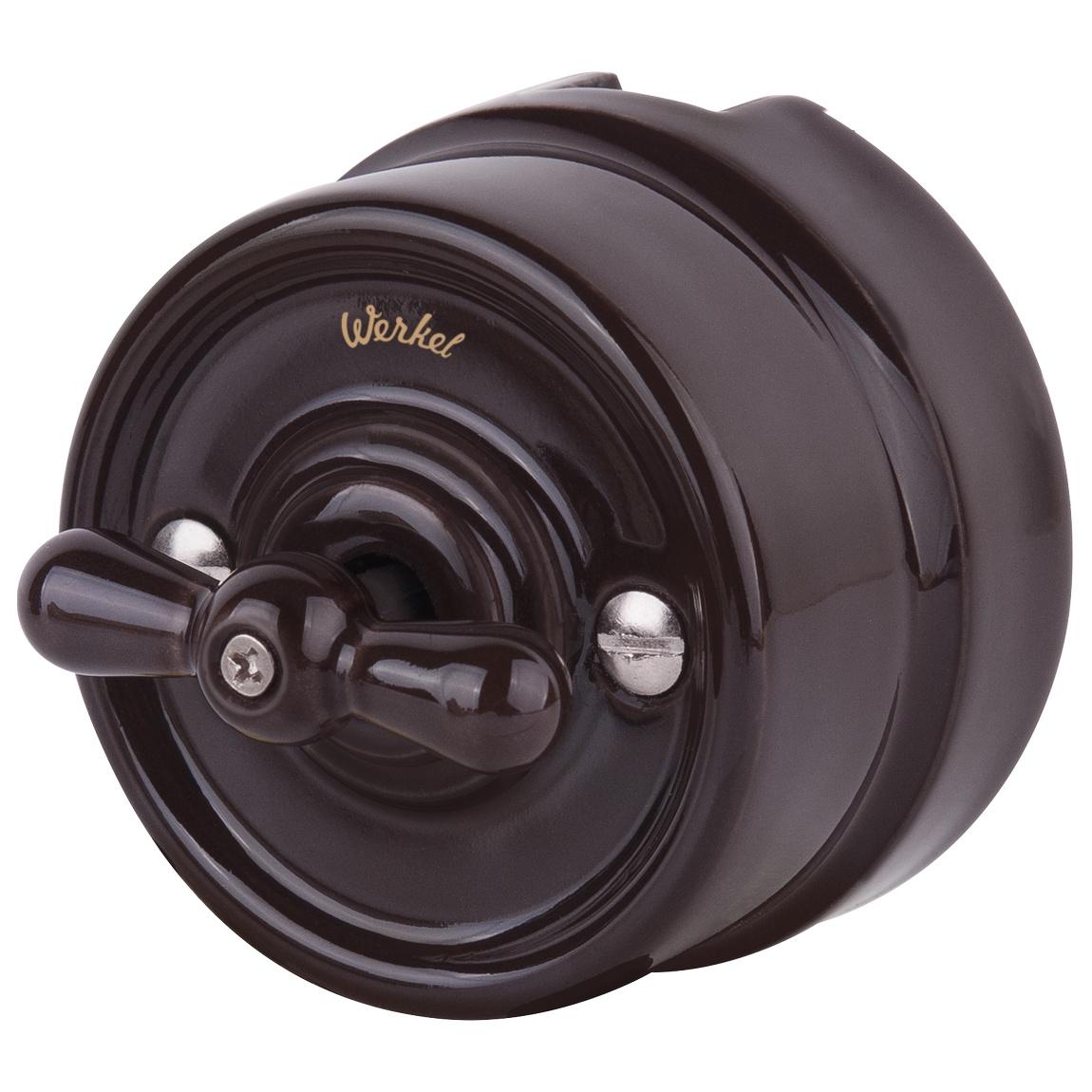 WL18-01-05/ Выключатель на 4 положения двухклавишный (коричневый) Ретро цена и фото