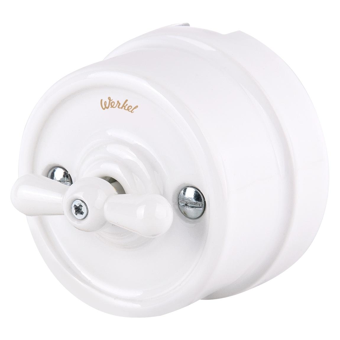 Выключатель Werkel одноклавишный (белый) Ретро WL18-01-03, белый ретро 2019 01 19t18 00