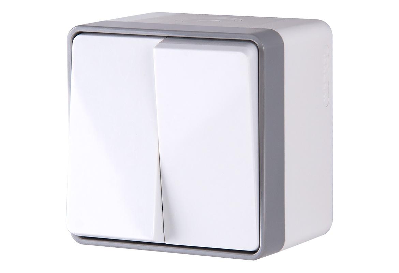 Выключатель Werkel двухклавишный влагозащищенный Gallant (белый) WL15-03-02, белый