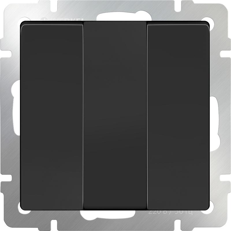 цена на Выключатель Werkel трехклавишный (черный матовый) WL08-SW-3G, черный