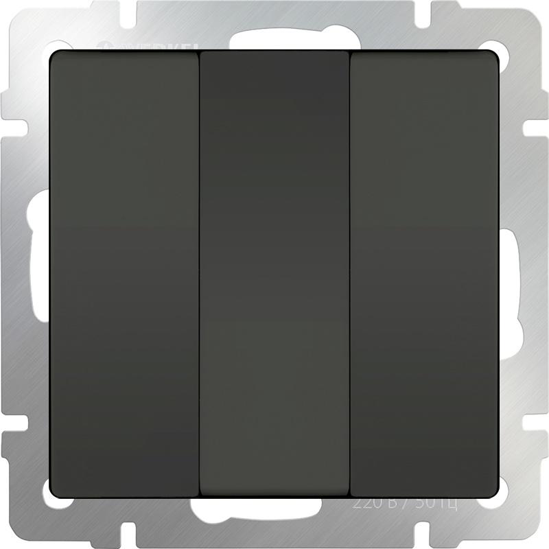 WL07-SW-3G/Выключатель трехклавишный (серо-коричневый) диммера werkel antik серо коричневый wl07 audiox4 wl07 dm600