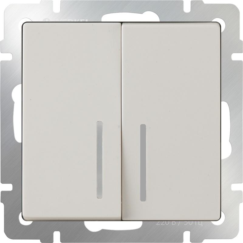 Выключатель Werkel двухклавишный с подсветкой (слоновая кость) WL03-SW-2G-LED-ivory, слоновая кость цена 2017
