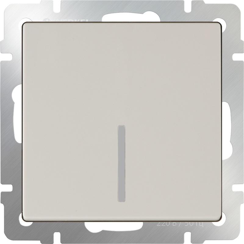 Выключатель Werkel одноклавишный с подсветкой (слоновая кость) WL03-SW-1G-LED-ivory, слоновая кость выключатель перекрестной одноклавишный без рамки werkel слоновая кость wl03 sw 1g с ivory