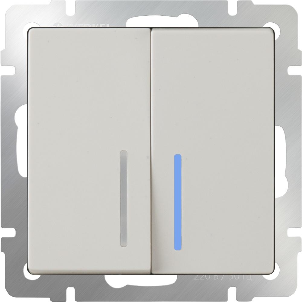 WL03-SW-2G-2W-LED-ivory /Выключатель двухклавишный проходной c с подсветкой (слоновая кость) werkel выключатель двухклавишный проходной с подсветкой werkel wl08 sw 2g 2w led