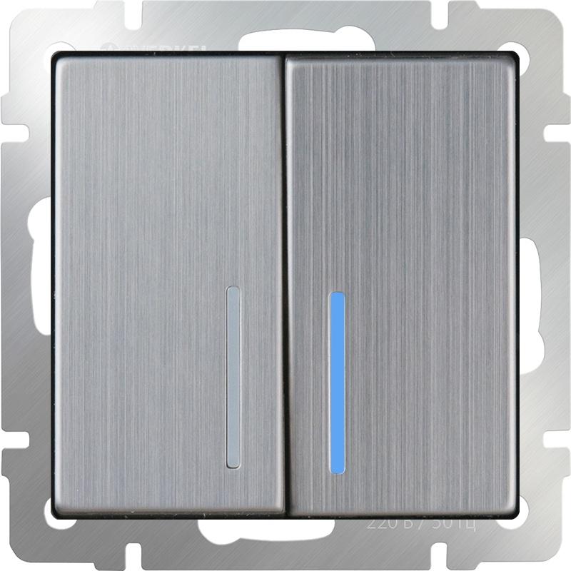 Выключатель Werkel двухклавишный с подсветкой (глянцевый никель) WL02-SW-2G-LED, темно-серый выключатель проходной двухклавишный с подсветкой без рамки werkel глянцевый никель wl02 sw 2g 2w led