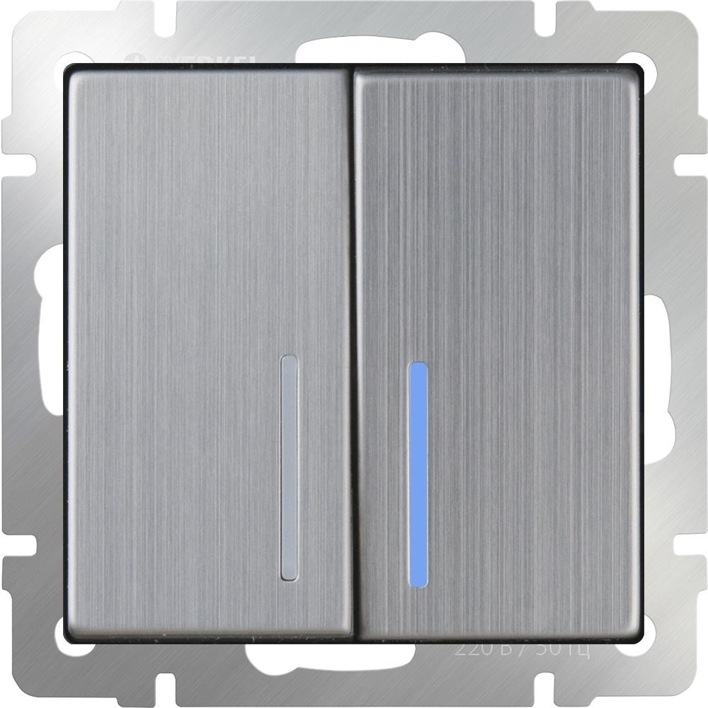 Выключатель Werkel двухклавишный проходной с подсветкой (глянцевый никель) WL02-SW-2G-2W-LED, темно-серый werkel выключатель двухклавишный проходной с подсветкой werkel wl08 sw 2g 2w led