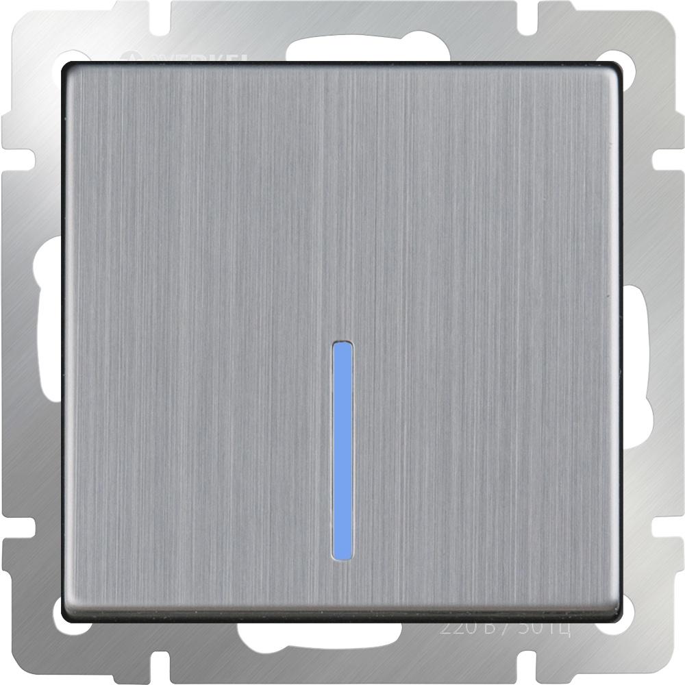 WL02-SW-1G-2W-LED/Выключатель одноклавишный проходной с подсветкой (глянцевый никель) выключатель проходной двухклавишный с подсветкой без рамки werkel глянцевый никель wl02 sw 2g 2w led