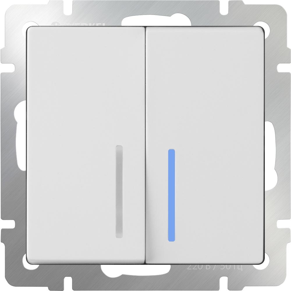 Выключатель Werkel двухклавишный проходной с подсветкой (белый) WL01-SW-2G-2W-LED, белый выключатель проходной двухклавишный с подсветкой без рамки werkel глянцевый никель wl02 sw 2g 2w led