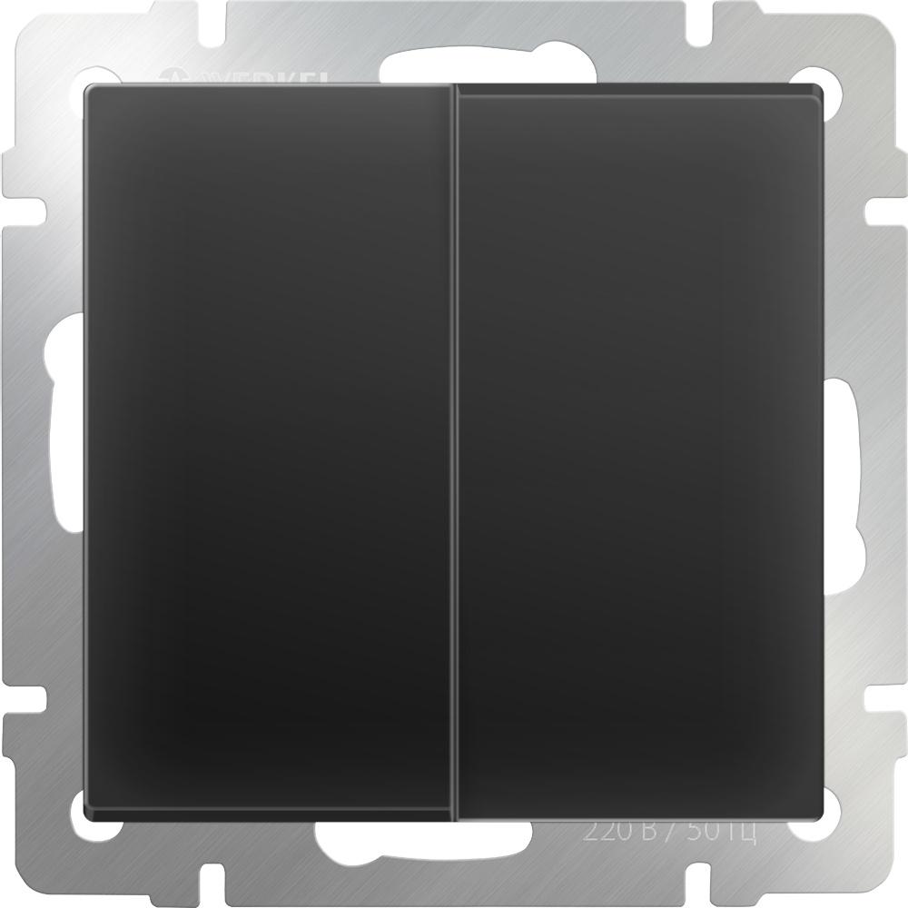 Выключатель Werkel двухклавишный проходной (черный матовый) WL08-SW-2G-2W, черный werkel выключатель двухклавишный проходной с подсветкой werkel wl08 sw 2g 2w led