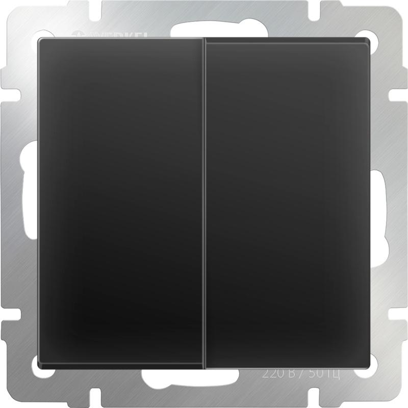 цена на Выключатель Werkel двухклавишный (черный матовый) WL08-SW-2G, черный