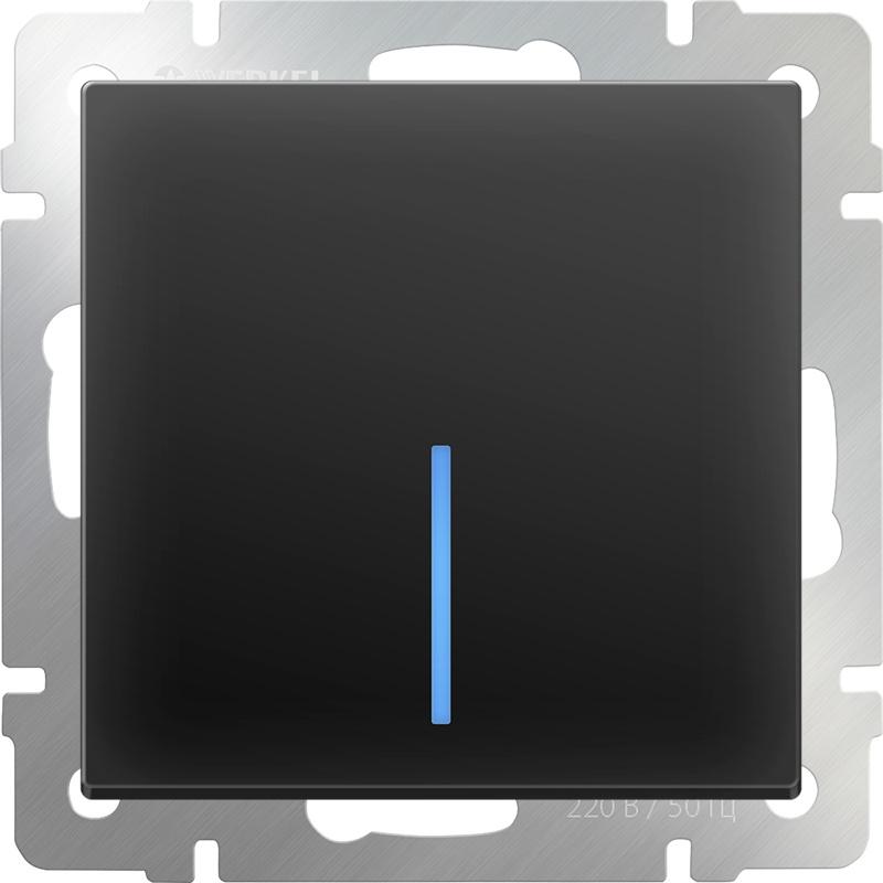 Выключатель Werkel одноклавишный с подсветкой (черный матовый) WL08-SW-1G-LED, черный биксеноновый модуль clearlight 2 5 черный с led подсветкой 1 шт