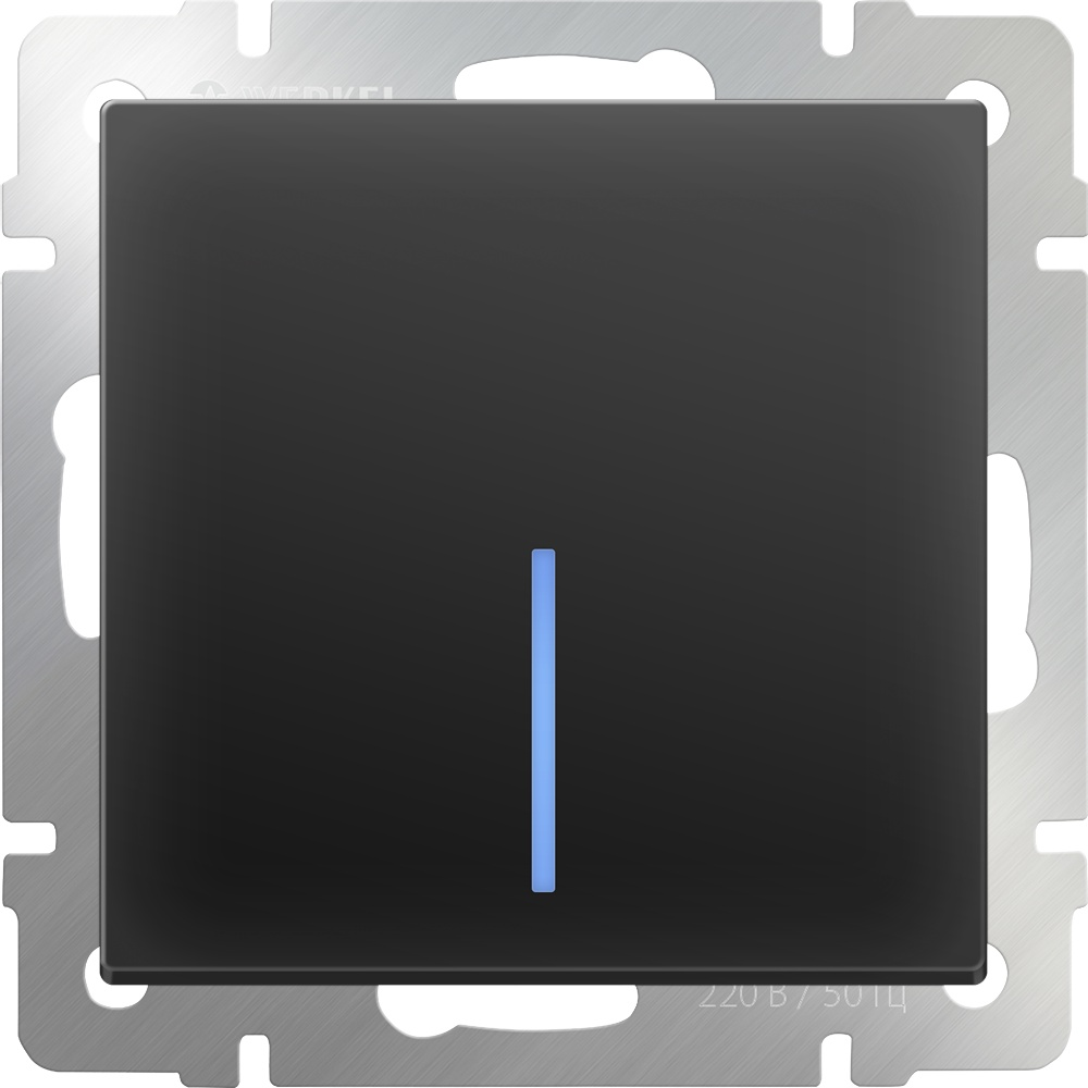 Выключатель Werkel одноклавишный проходной с подсветкой (черный матовый) WL08-SW-1G-2W-LED, черный биксеноновый модуль clearlight 2 5 черный с led подсветкой 1 шт