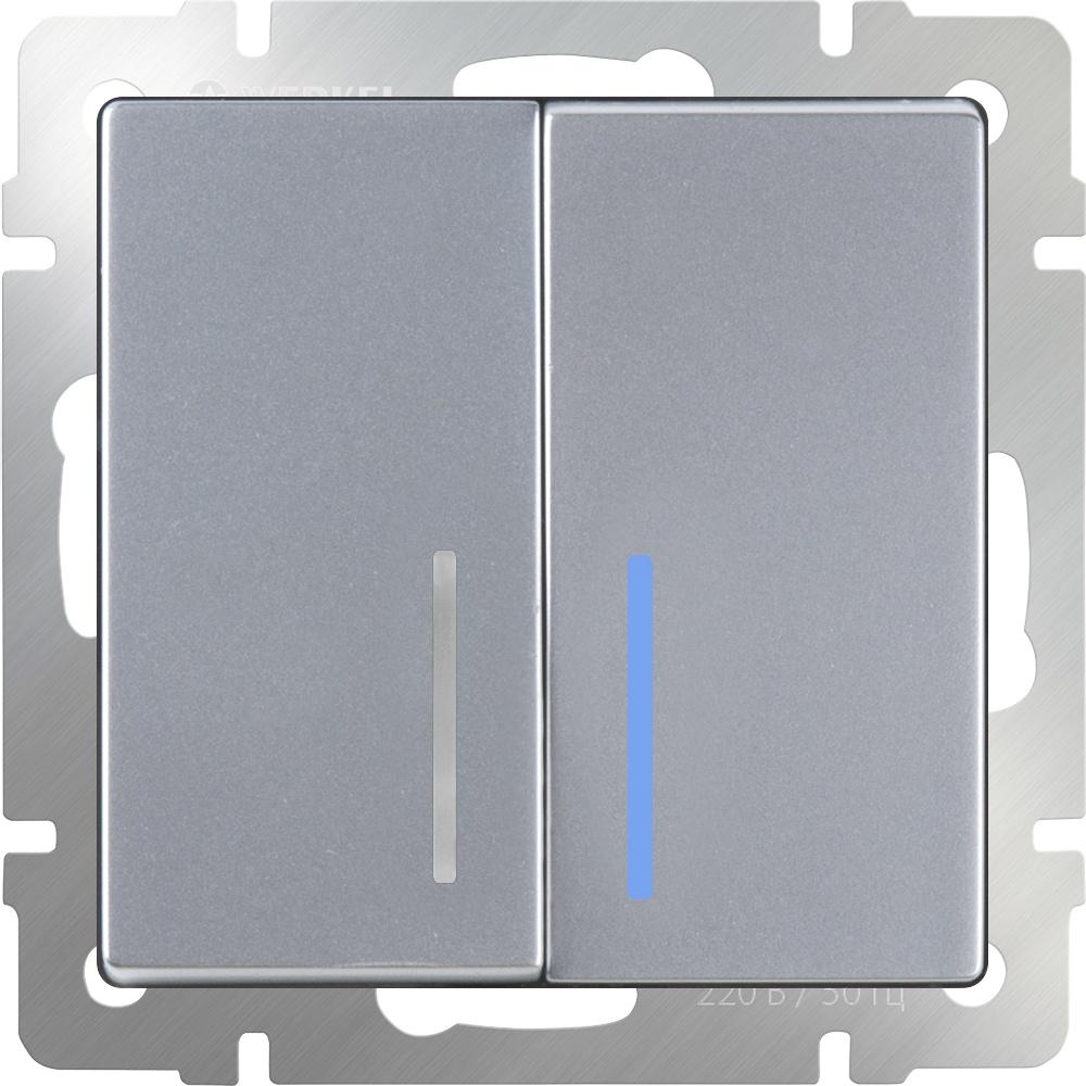 Выключатель Werkel двухклавишный с подсветкой (серебряный) WL06-SW-2G-LED, серебристый выключатель werkel серебряный wl06 sw 1g led выключатель одноклавишный с подсветкой серебряный