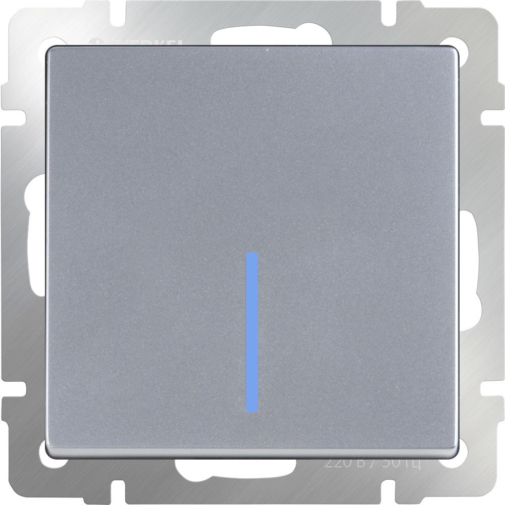 Выключатель Werkel одноклавишный проходной с подсветкой (серебряный) WL06-SW-1G-2W-LED, серебристый выключатель werkel серебряный wl06 sw 1g led выключатель одноклавишный с подсветкой серебряный