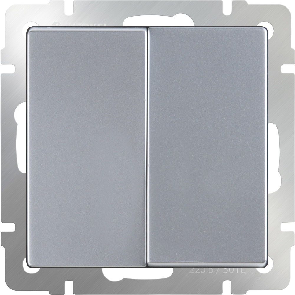 Выключатель Werkel двухклавишный проходной (серебряный) WL06-SW-2G-2W, серебристый