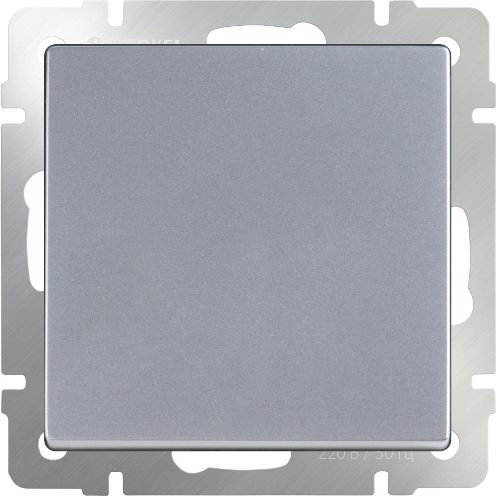 Выключатель Werkel одноклавишный проходной (серебряный) WL06-SW-1G-2W, серебристый выключатель одноклавишный серебряный wl06 sw 1g 4690389053818