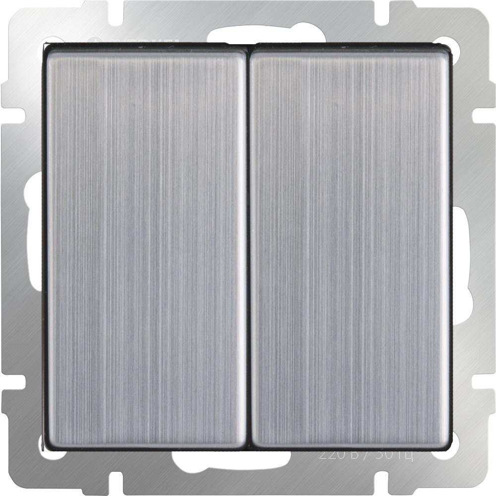 Выключатель Werkel двухклавишный проходной (глянцевый никель) WL02-SW-2G-2W, серый металлик выключатель проходной двухклавишный с подсветкой без рамки werkel глянцевый никель wl02 sw 2g 2w led