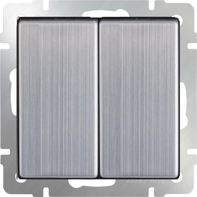 Выключатель Werkel двухклавишный (глянцевый никель) WL02-SW-2G, серый металлик выключатель проходной двухклавишный с подсветкой без рамки werkel глянцевый никель wl02 sw 2g 2w led