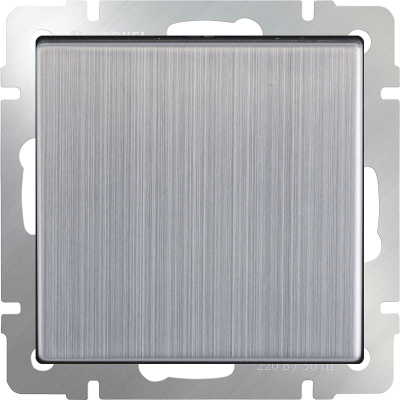Выключатель Werkel одноклавишный (глянцевый никель) WL02-SW-1G, серый металлик