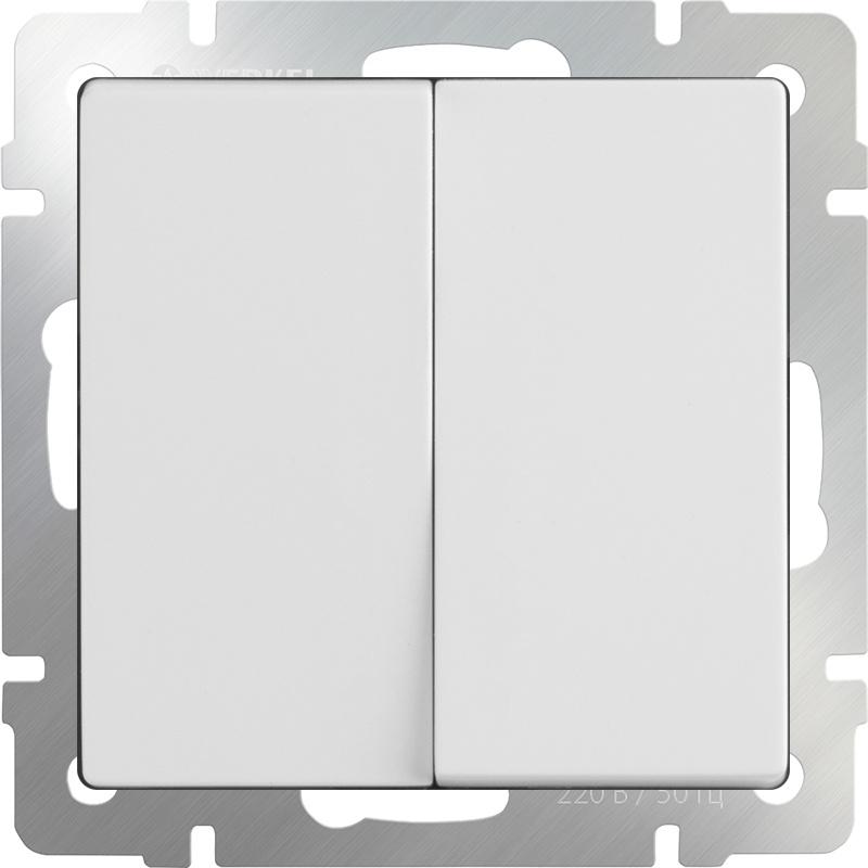 Выключатель Werkel двухклавишный проходной (белый) WL01-SW-2G-2W, белый