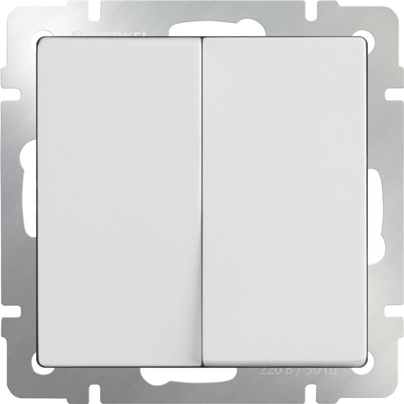 Выключатель Werkel двухклавишный (белый) WL01-SW-2G, белый цены онлайн