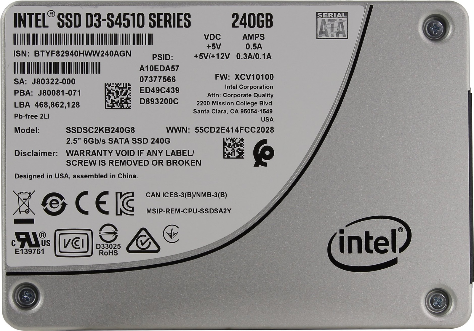 SSD Intel 240GB D3-S4510 Series, SSDSC2KB240G801 стоимость