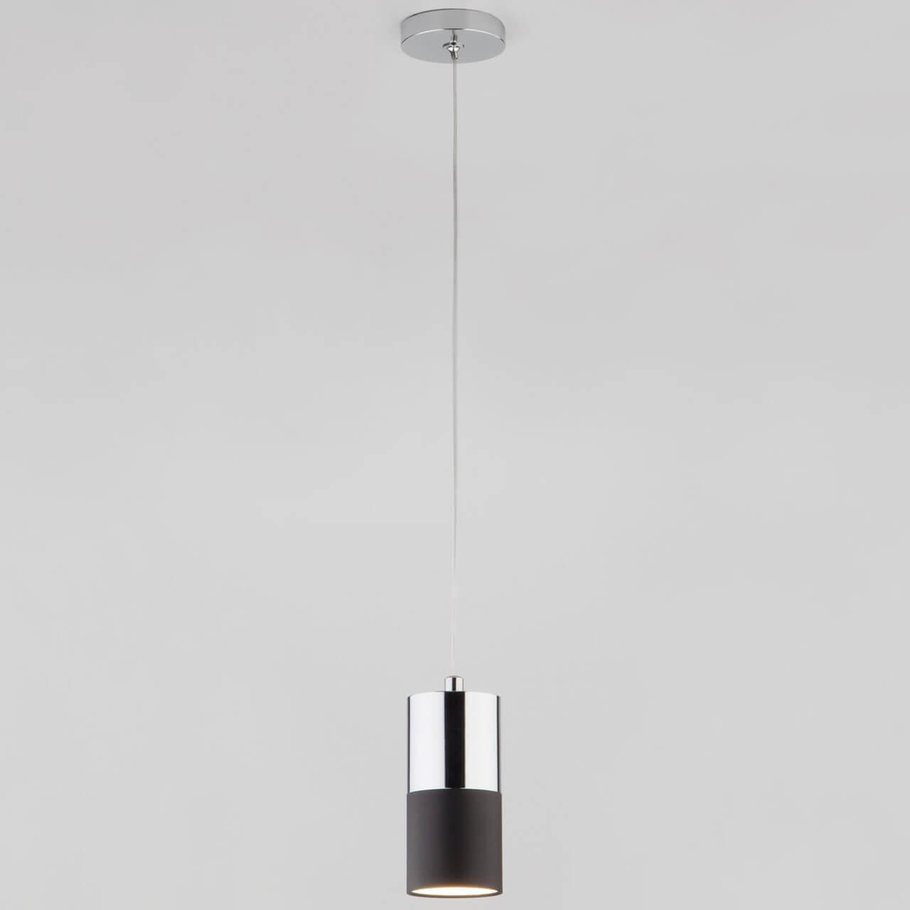 Подвесной светильник EUROSVET 50146/1 хром/черный, GU10, 5 Вт