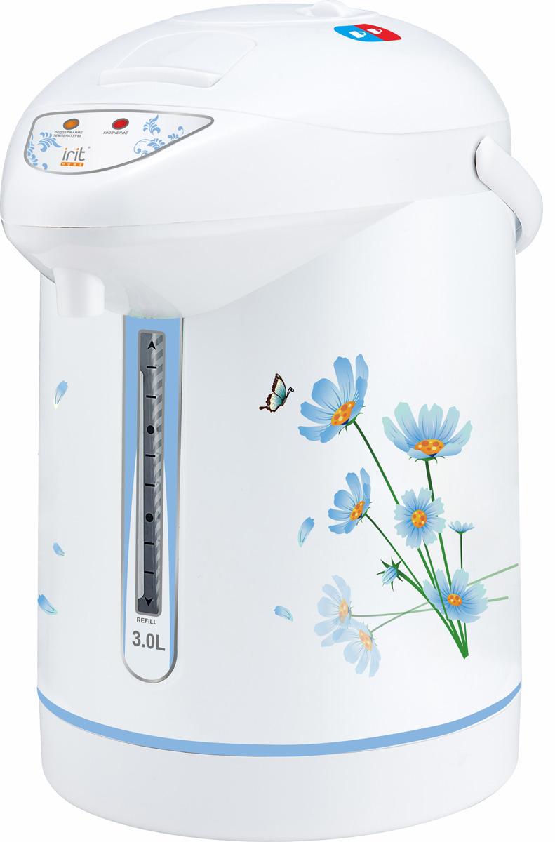 Термопот Irit IR-1403, белый, голубой цена и фото