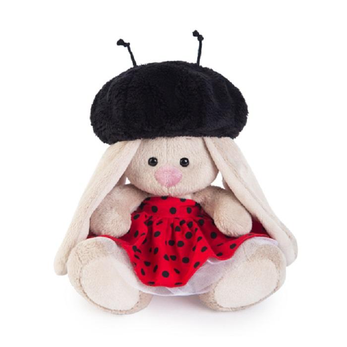 Мягкая игрушка Басик и Ко Зайка Ми малыш в костюме божьей коровки, 15 см бежевый
