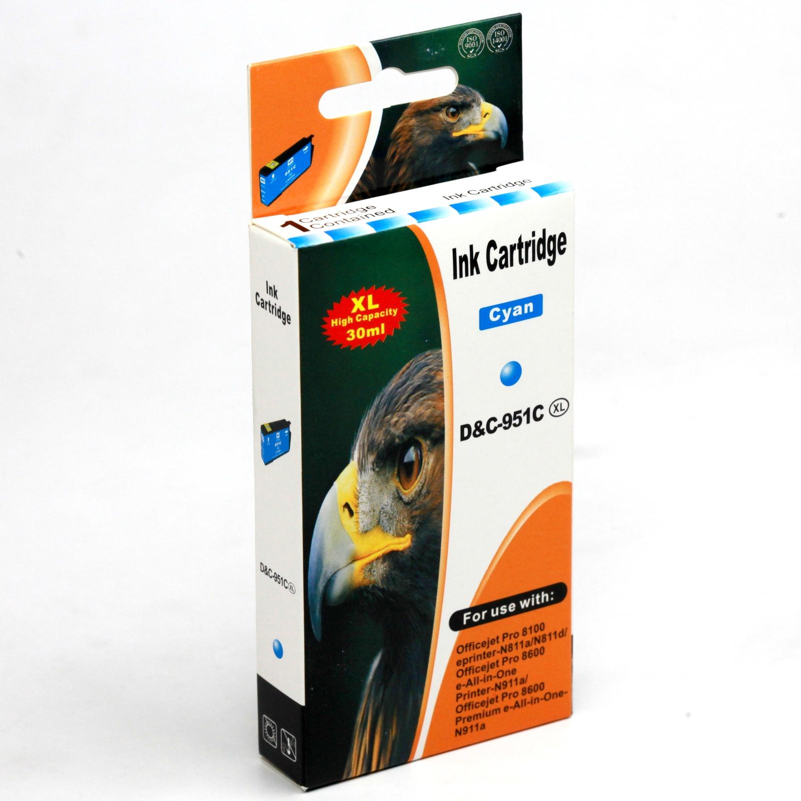 Картридж INKO HP 951 XL OfficeJet Pro 8100, 8600, 8610, 8615, 8620, 8630, 8640 голубой
