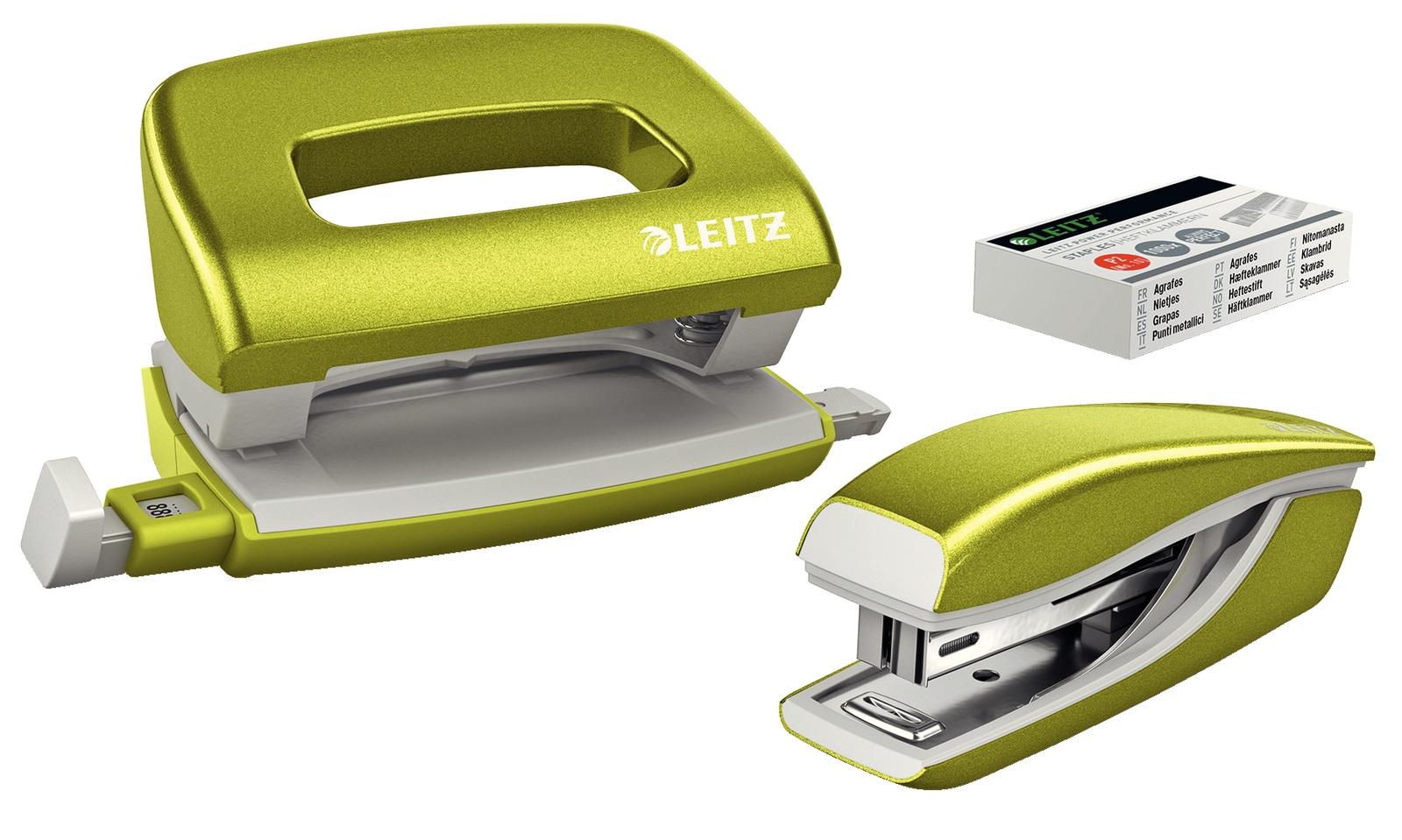 Канцелярский набор Leitz Набор мини-степлер и дырокол металлические NeXXt WOW, 10 листов