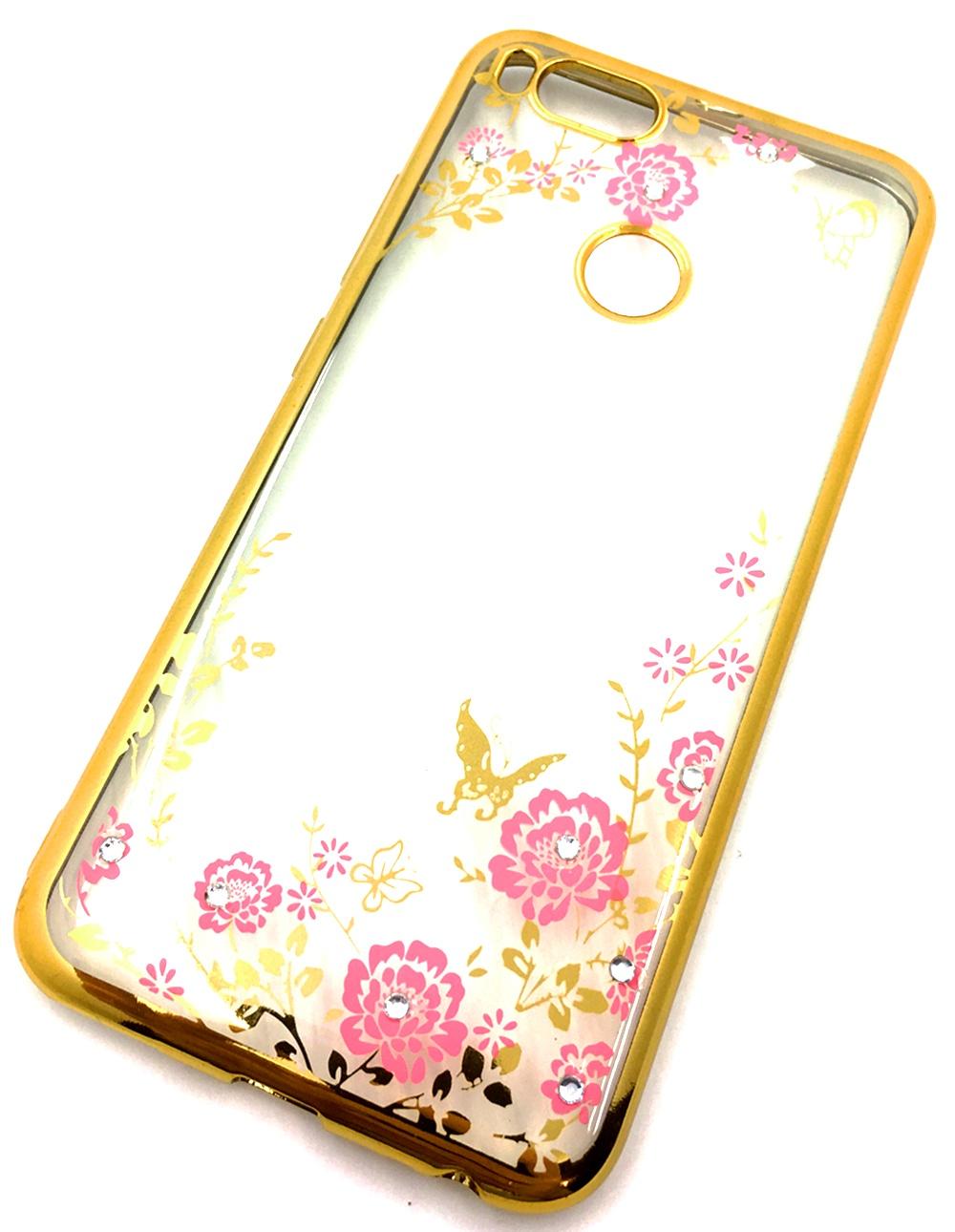 Чехол для сотового телефона Мобильная мода Xiaomi Mi A1 5X Силиконовая, прозрачная накладка со стразами, золотой чехол для сотового телефона мобильная мода meizu pro 6 силиконовая прозрачная накладка со стразами 6371g золотой