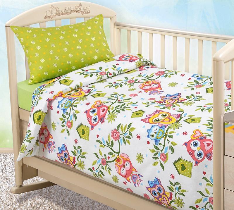 """Комплект в кроватку Текс Дизайн """"Бамбино"""" из бязи с простыней на резинке, Совята, размер: ясли"""