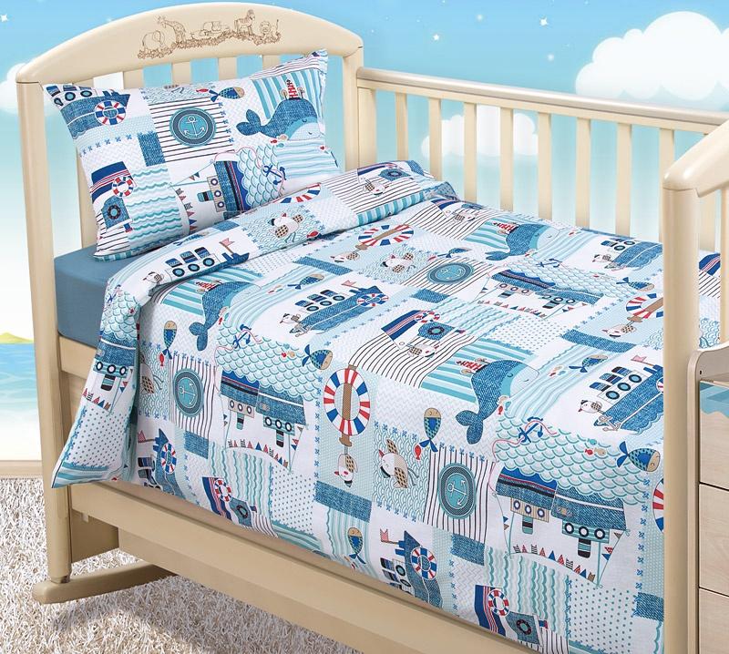 """Комплект в кроватку Текс Дизайн """"Бамбино"""" из бязи с простыней на резинке, Кораблики, размер: ясли"""