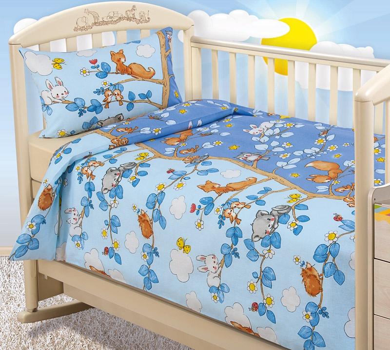 """Постельное белье в кроватку """"Бамбино"""" с простыней на резинке; День и ночь; Размер: ясли"""