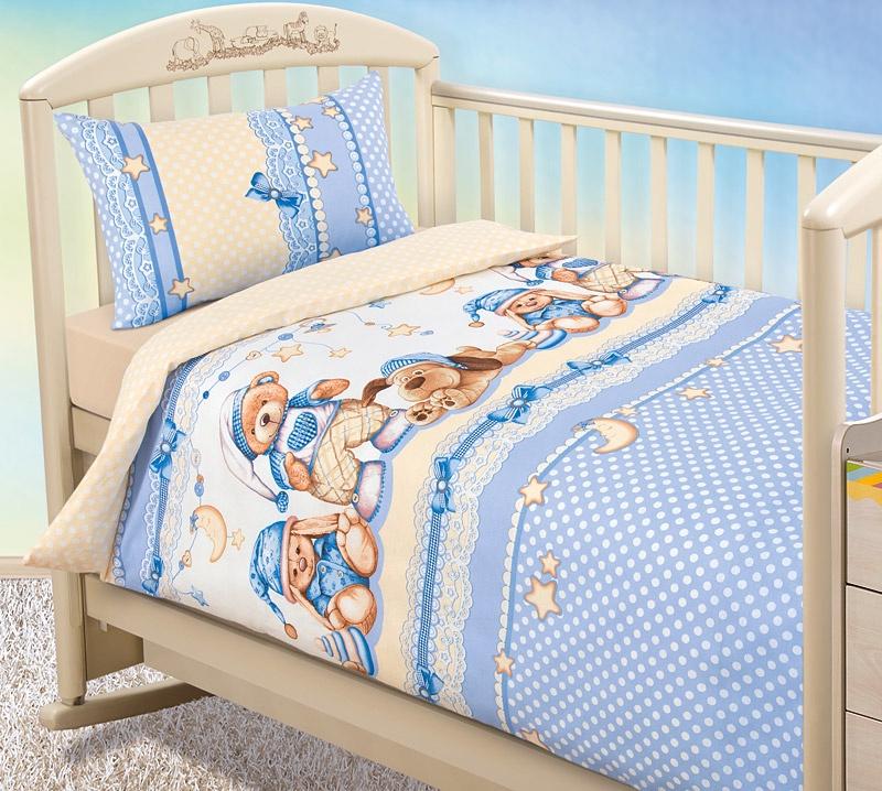 """Комплект в кроватку Текс Дизайн """"Бамбино"""" из бязи с простыней на резинке, Нежный сон, размер: ясли"""