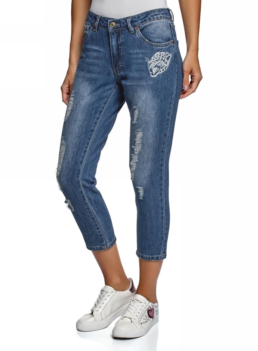 Джинсы oodji черные джинсы с вышивкой купить