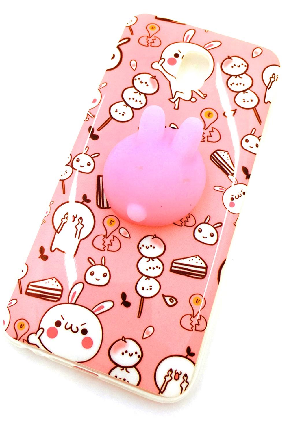 Чехол для сотового телефона Мобильная мода Samsung J3 2017 Накладка, мягкий 3D принт, антистресс, зайчик, розовый