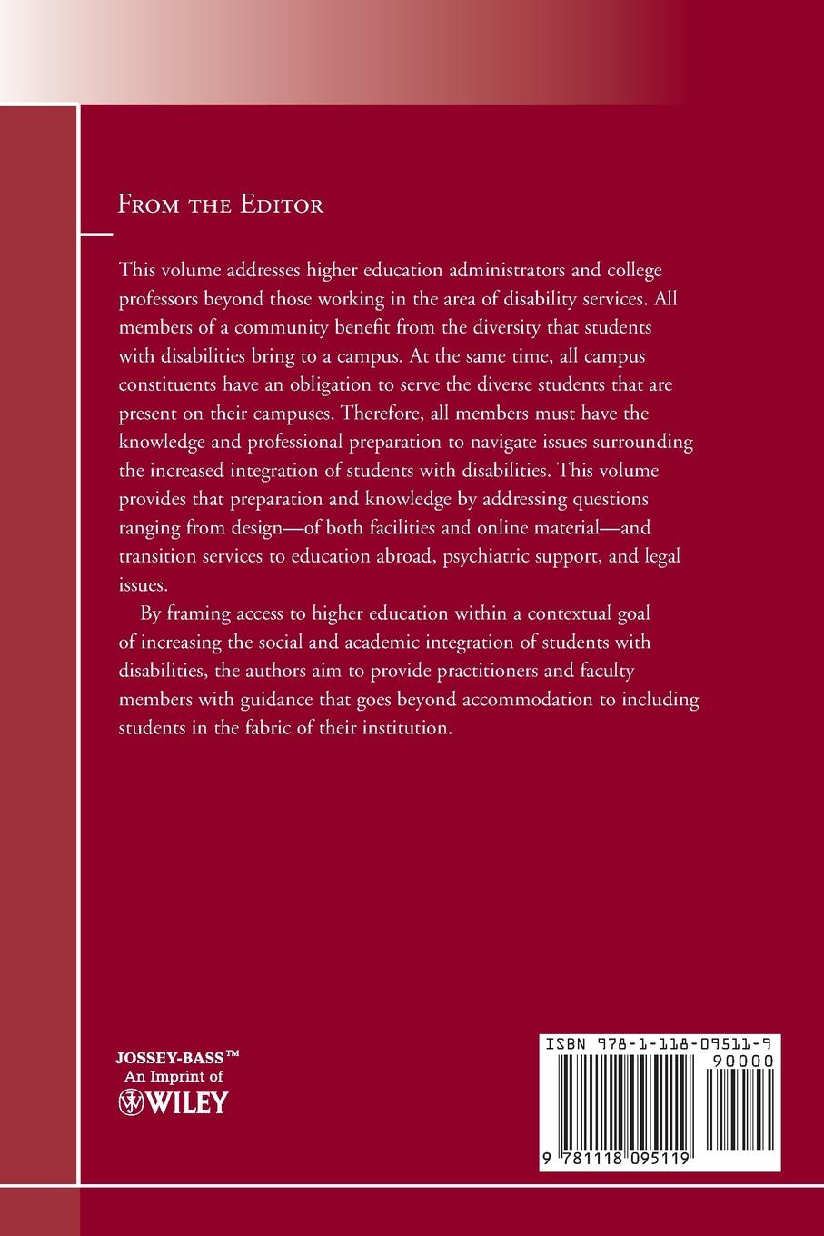 Student Services, SS Fostering the Increased Integration of Students with Disabilities. New Directions for Student Services, Number 134 shannon ellis e strategic planning in student affairs new directions for student services number 132