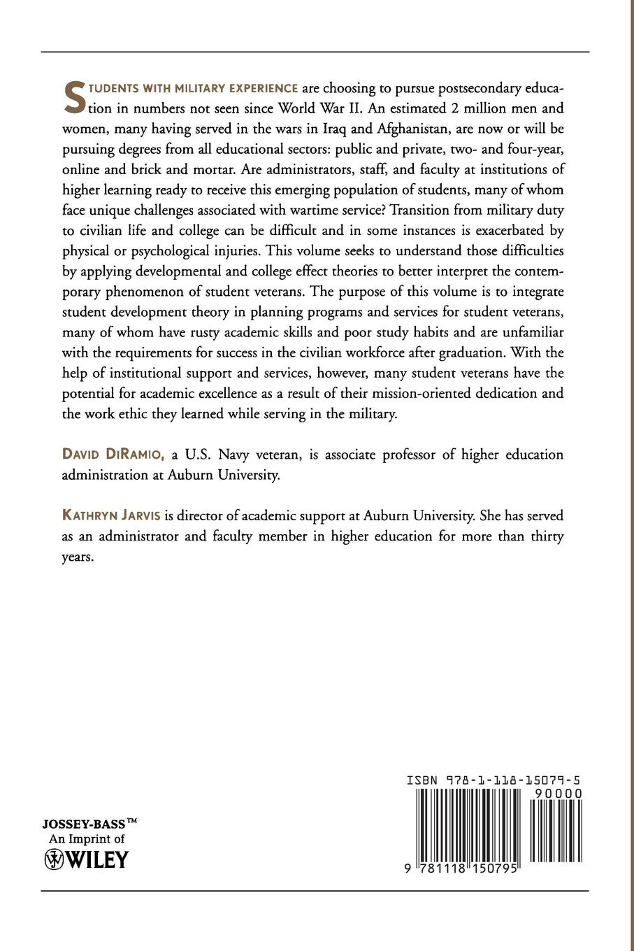 Aehe, David Diramio, Kathryn Jarvis Veterans in Higher Education. When Johnny and Jane Come Marching to Campus: Ashe Higher Education Report, Volume 37, Number 3 david tandberg a public policy and higher education strategies for framing a research agenda ashe higher education report volume 41 number 2