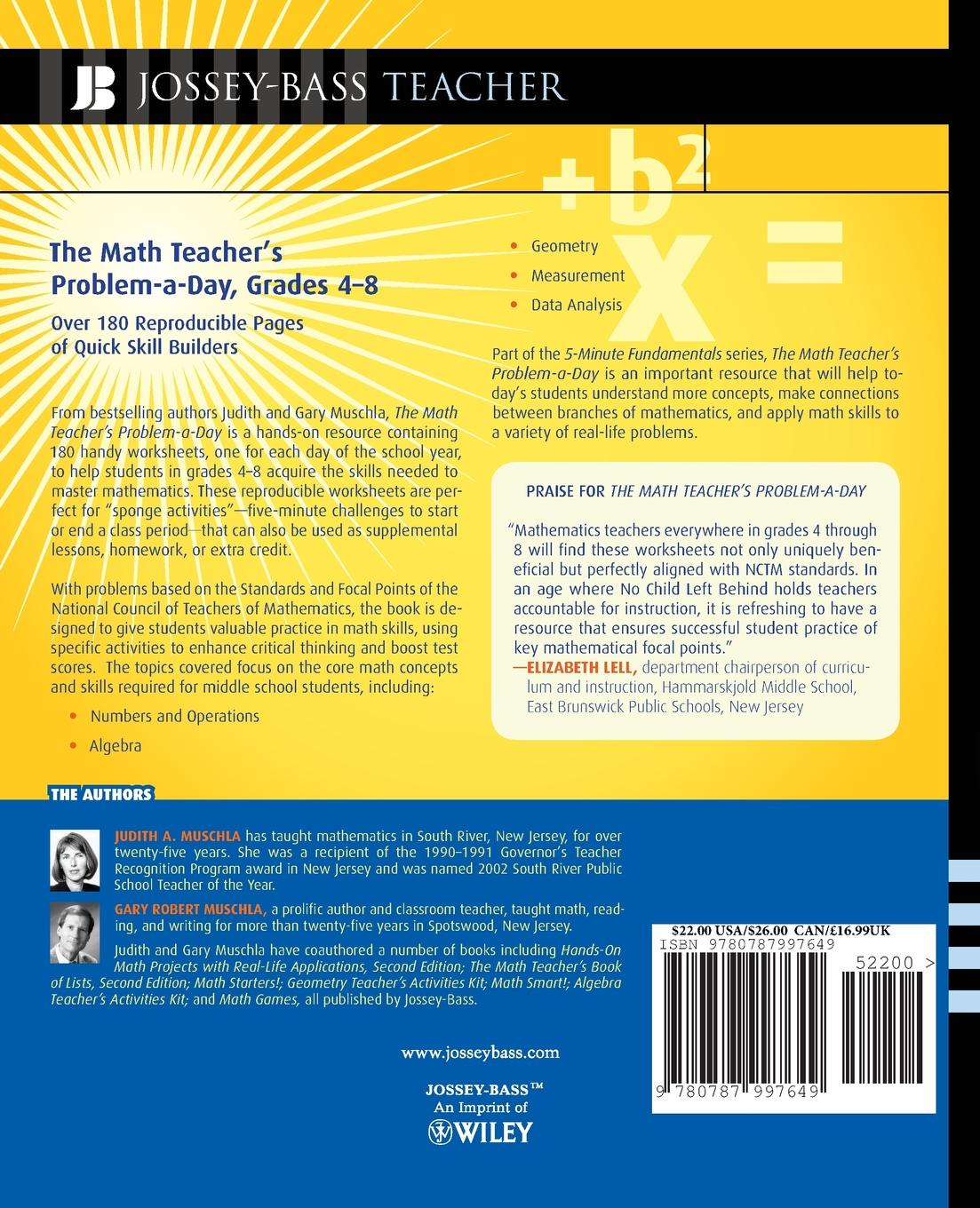 Judith A. Muschla, Gary Robert Muschla The Math Teacher's Problem-A-Day Grades 4-8. Over 180 Reproducible Pages of Quick Skill Builders erin muschla teaching the common core math standards with hands on activities grades 6 8