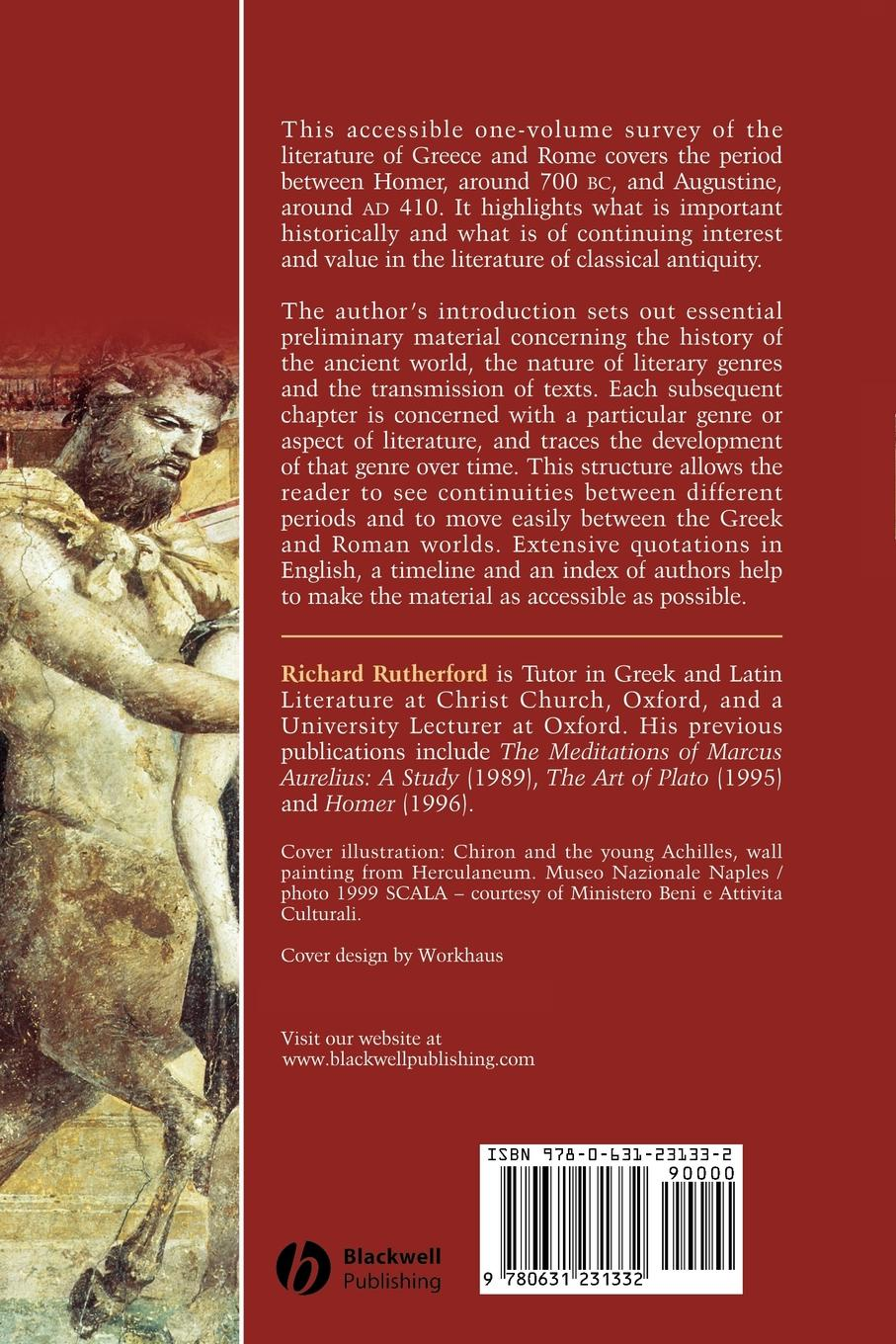R. B. Rutherford, Richard Rutherford, Rutherford Classical Literature. A Concise History richard gray a history of american literature