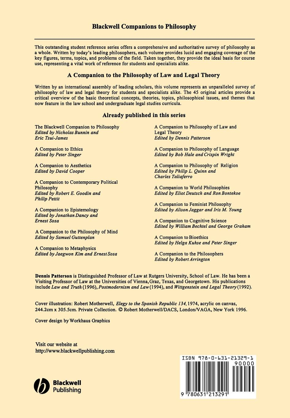 Patterson Companion to Philosophy Law and Legal недорого