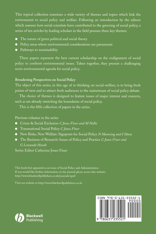 Cahill, Fitzpatrick Environmental Issues and Social Welfare frances harris global environmental issues