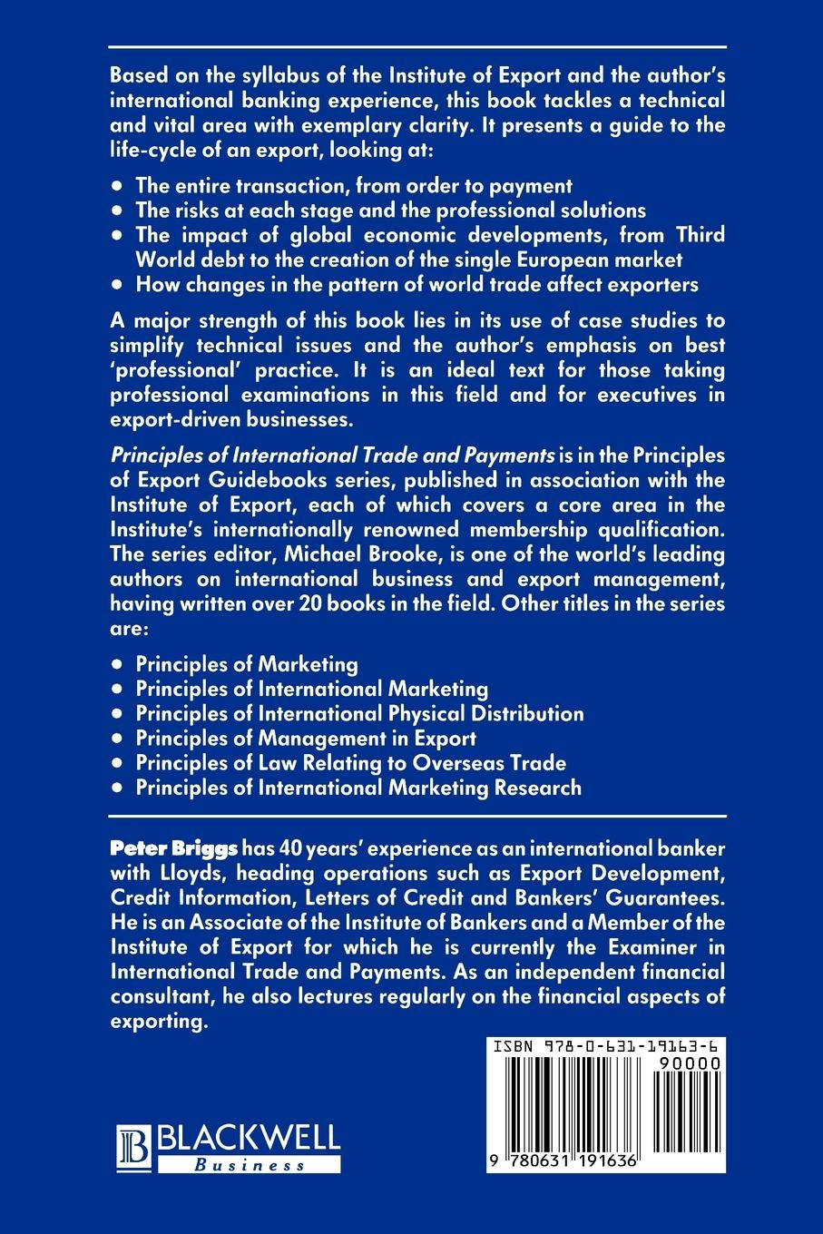 Peter D. Briggs, Anthony Briggs Principles of International Trade and Payments international trade and agriculture