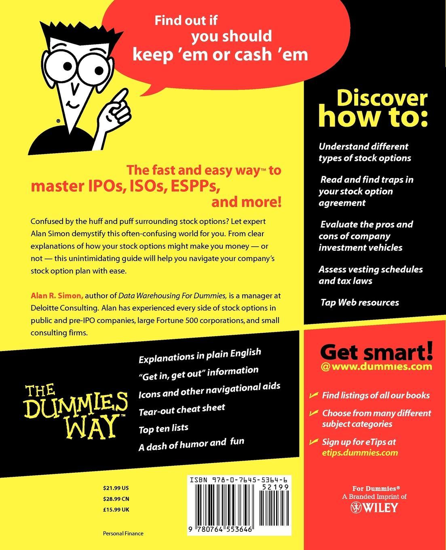 Alan R. Simon, Simon Stock Options for Dummies. john marler r stroke for dummies