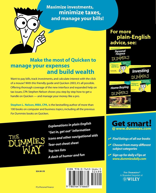 Stephen L. Nelson, Ian Nelson Quicken 2003 for Dummies jeff howell diy for dummies