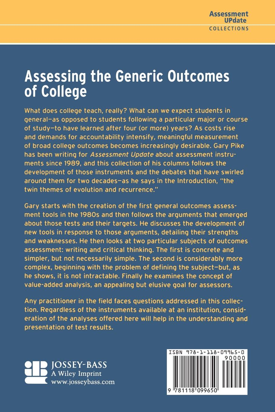 Pike Assessing Generic Outcomes in assessing creativity